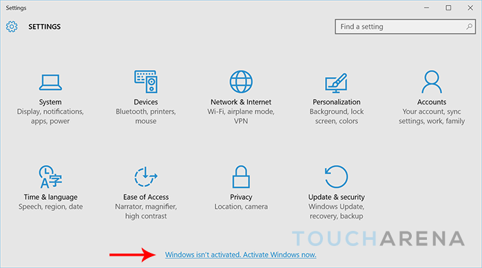 How to activate windows 10 touch arena how to activate windows 10 from settings ccuart Image collections