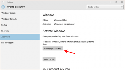 activate windows 10 settings