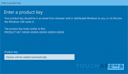update Windows 10 key