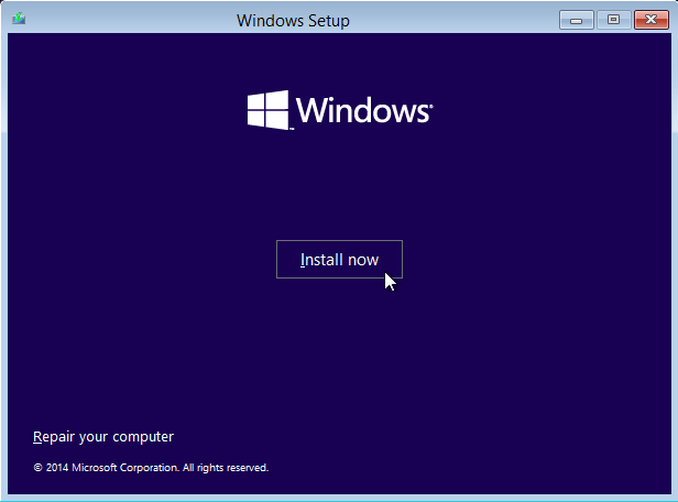windows 10 install now
