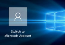 switch microsoft account 10